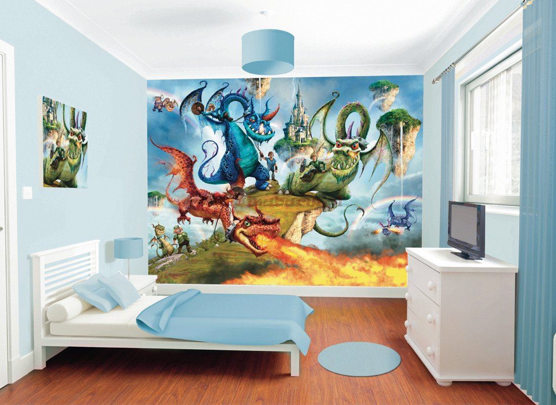 fototapeta 3d 041 land of knights and dragons On dragon ball z bedroom wallpaper